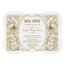 Glam White Gold Art Deco Peacocks Bridal Shower Card