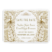 Glam White Gold Art Deco Peacocks Save The Date Card