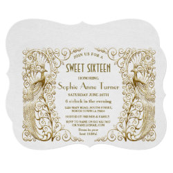 Glam White Gold Art Deco Peacocks Sweet Sixteen Invitation