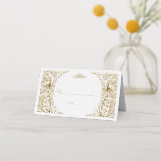 Glam White Gold Art Deco Peacocks Wedding Place Card