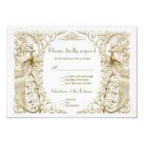 Glam White Gold Art Deco Peacocks Wedding RSVP Card