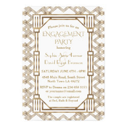 Glam White Gold Great Gatsby Engagement Party Card