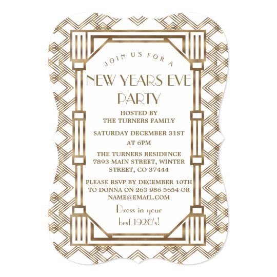 glam white gold great gatsby new year party invitation