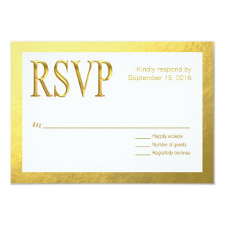 Glam White RSVP with Gold Nugget Faux Foil Outline Card