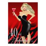 Glam Zebra Bombshell 40th Birthday   red Card