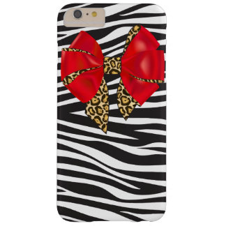 Glam Zebra Print and Red Leopard Bow Barely There iPhone 6 Plus Case
