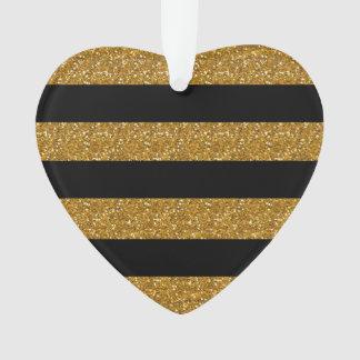 Glamor Black Stripes with Gold Glitter Printed