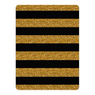 Glamor Black Stripes with Gold Glitter Printed Card