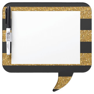 Glamor Black Stripes with Gold Glitter Printed Dry-Erase Board
