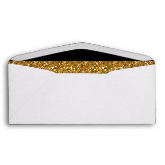 Glamor Black Stripes with Gold Glitter Printed Envelopes