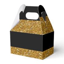 Glamor Black Stripes with Gold Glitter Printed Favor Box