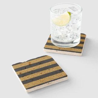 Glamor Black Stripes with Gold Glitter Printed Stone Beverage Coaster