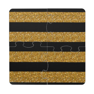 Glamor Black Stripes with Gold Glitter Printed Puzzle Coaster