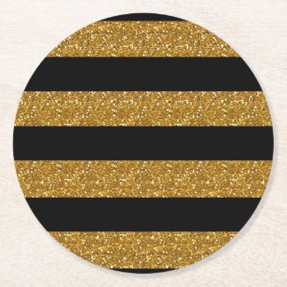 Glamor Black Stripes with Gold Glitter Printed Round Paper Coaster