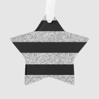 Glamor Black Stripes with Silver Glitter Printed