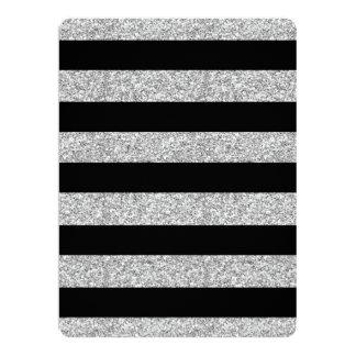 Glamor Black Stripes with Silver Glitter Printed Card