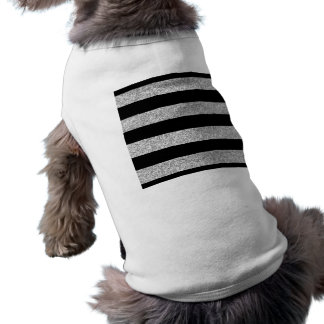 Glamor Black Stripes with Silver Glitter Printed Dog Tee Shirt