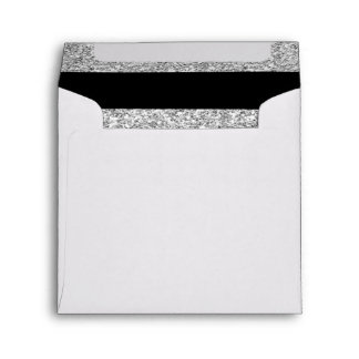 Glamor Black Stripes with Silver Glitter Printed Envelope