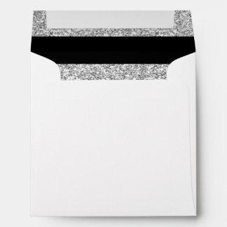 Glamor Black Stripes with Silver Glitter Printed Envelope