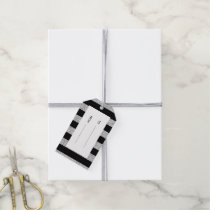 Glamor Black Stripes with Silver Glitter Printed Gift Tags