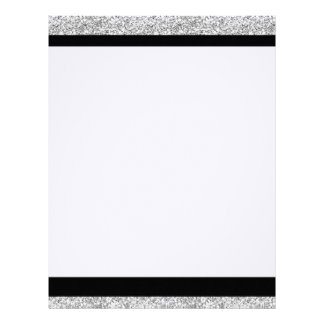 Glamor Black Stripes with Silver Glitter Printed Letterhead