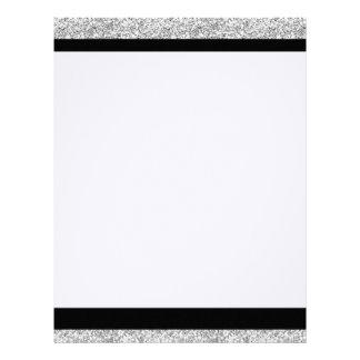 Glamor Black Stripes with Silver Glitter Printed Letterhead