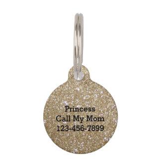 Glamor Girly Chic Bokeh lights gold glitter Pet Name Tag