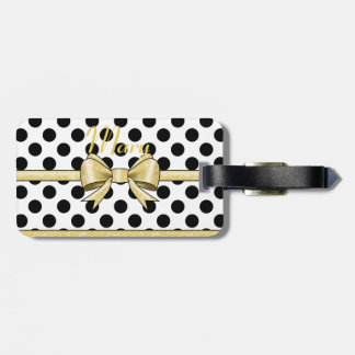Glamor Gold Bow and Black Polka Dots Bag Tag