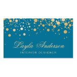 Glamor Gold Dots Decor - Classy Peacock Blue Color Double-Sided Standard Business Cards (Pack Of 100)