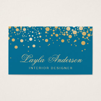 Glamor Gold Dots Decor - Classy Peacock Blue Color Business Card
