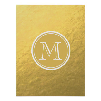 Glamor Gold Foil Background Monogram Poster