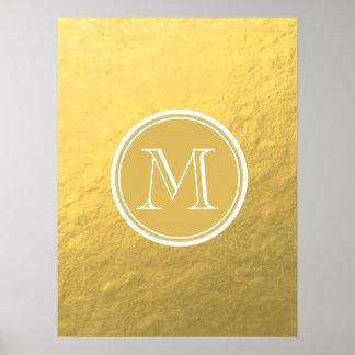 Glamor Gold Foil Background Monogram Poster