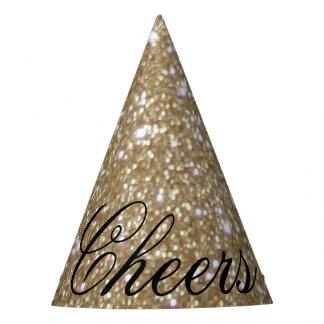 Glamor golden Glitz Bokeh lights gold glitter Party Hat