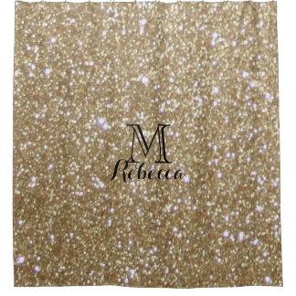 Glamor golden Glitz Bokeh lights gold glitter Shower Curtain