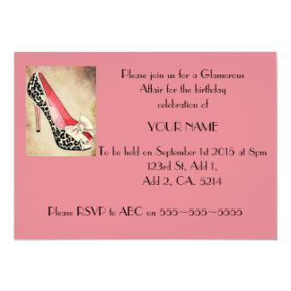 Glamor Leopard Heel Pink Invitation