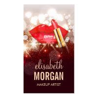 Glamor Red Lips Gold Glitter Sparkle Makeup Artist Business Card