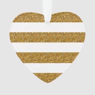 Glamor White Stripes with Gold Glitter Printed