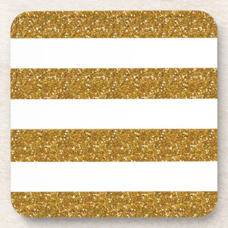 Glamor White Stripes with Gold Glitter Printed Coasters