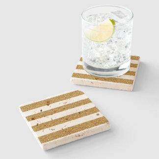 Glamor White Stripes with Gold Glitter Printed Stone Beverage Coaster