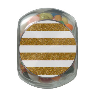 Glamor White Stripes with Gold Glitter Printed Glass Candy Jar