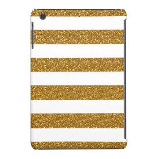 Glamor White Stripes with Gold Glitter Printed iPad Mini Cover