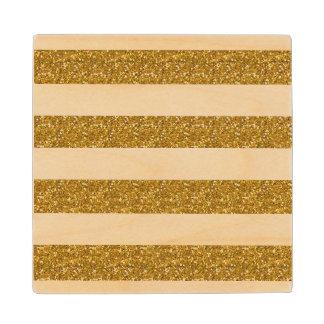 Glamor White Stripes with Gold Glitter Printed Wood Coaster