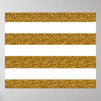 Glamor White Stripes with Gold Glitter Printed Poster