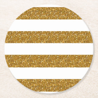 Glamor White Stripes with Gold Glitter Printed Round Paper Coaster