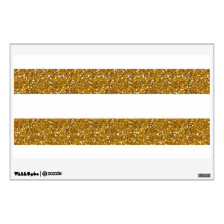 Glamor White Stripes with Gold Glitter Printed Wall Decor
