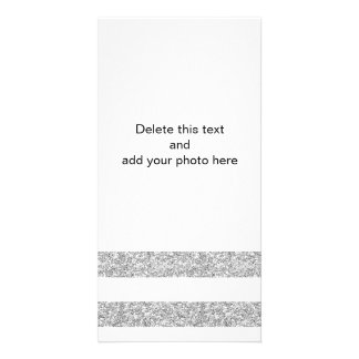 Glamor White Stripes with Silver Glitter Printed Card