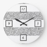 Glamor White Stripes with Silver Glitter Printed Wall Clocks