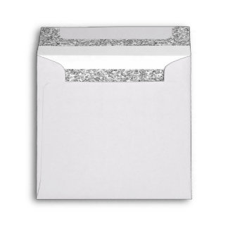 Glamor White Stripes with Silver Glitter Printed Envelope