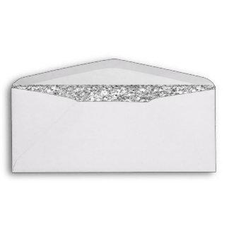Glamor White Stripes with Silver Glitter Printed Envelopes