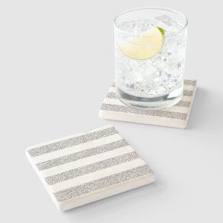 Glamor White Stripes with Silver Glitter Printed Stone Coaster